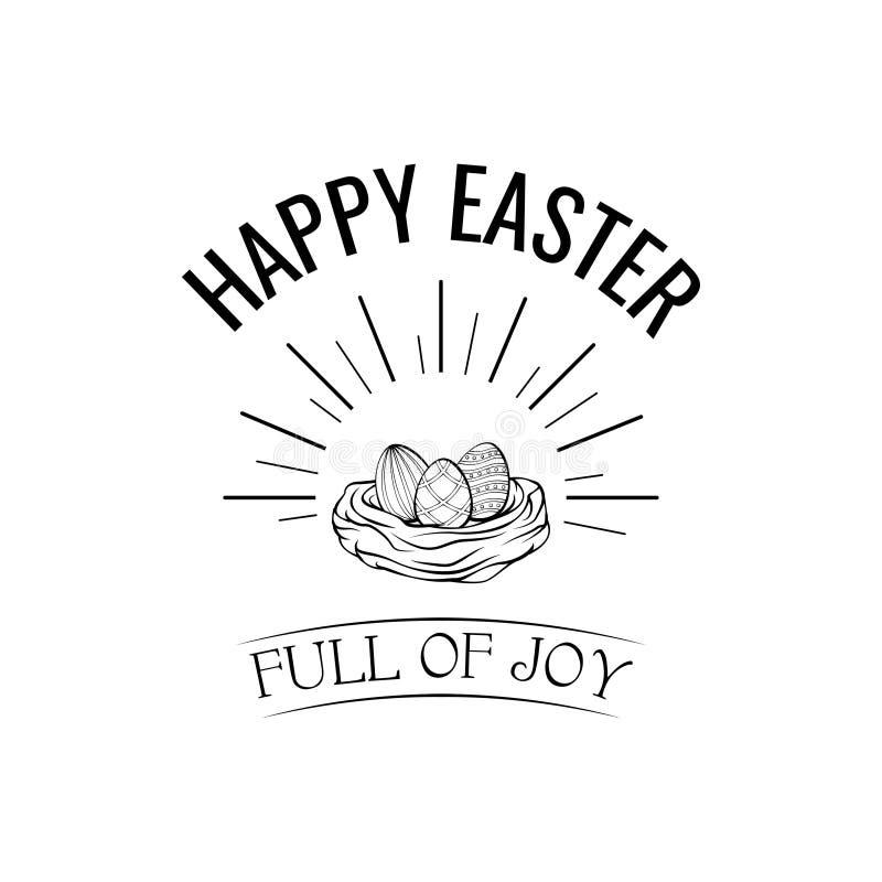 Tarjeta de felicitación de Pascua, jerarquía del pájaro y huevos lindos Ilustración del vector ilustración del vector