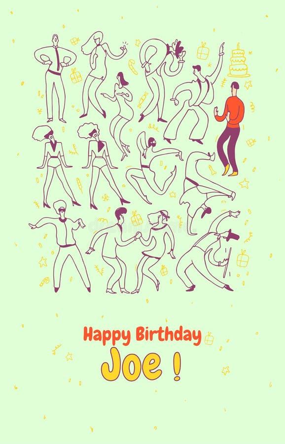 Tarjeta de felicitación personal Gente de la danza del partido Línea sistema del ejemplo del vector Feliz cumpleaños ilustración del vector
