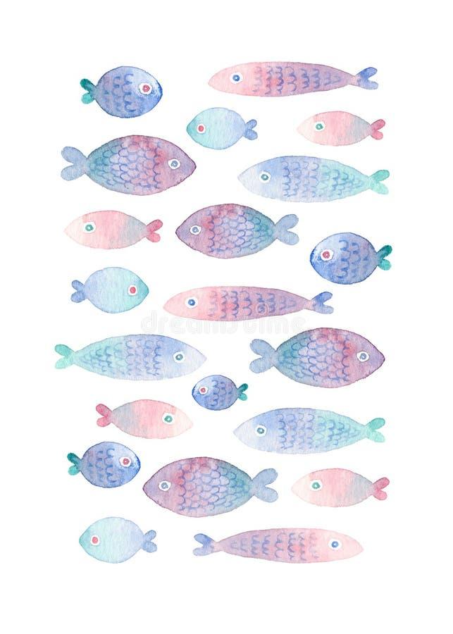 Tarjeta de felicitación pintada a mano colorida con los pescados de la acuarela libre illustration