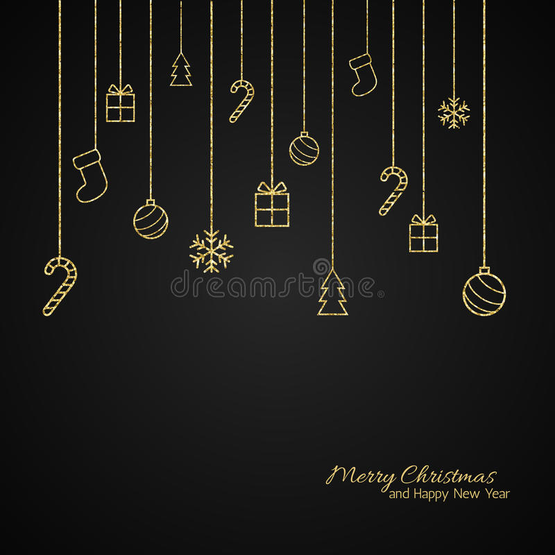 Tarjeta de felicitación plana de la Navidad con las chucherías del oro Fondo negro libre illustration