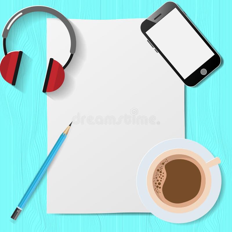 Tarjeta de felicitación plana del estilo de la endecha con la taza de café en la tabla de madera stock de ilustración