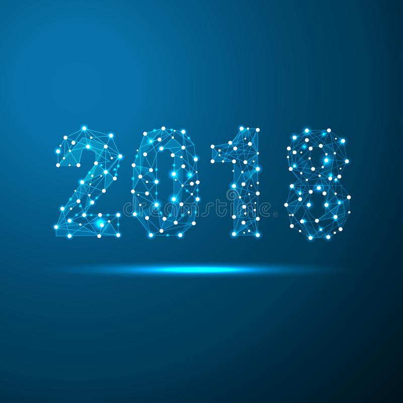 Tarjeta de felicitación poligonal geométrica del Año Nuevo 2018 Fondo futuro del azul de la tecnología del triángulo polivinílico ilustración del vector
