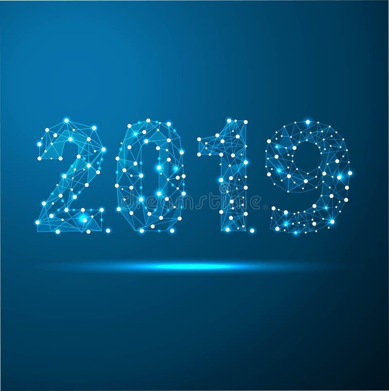 Tarjeta de felicitación poligonal geométrica del Año Nuevo 2019 Fondo futuro del gris de la tecnología del triángulo polivinílico libre illustration
