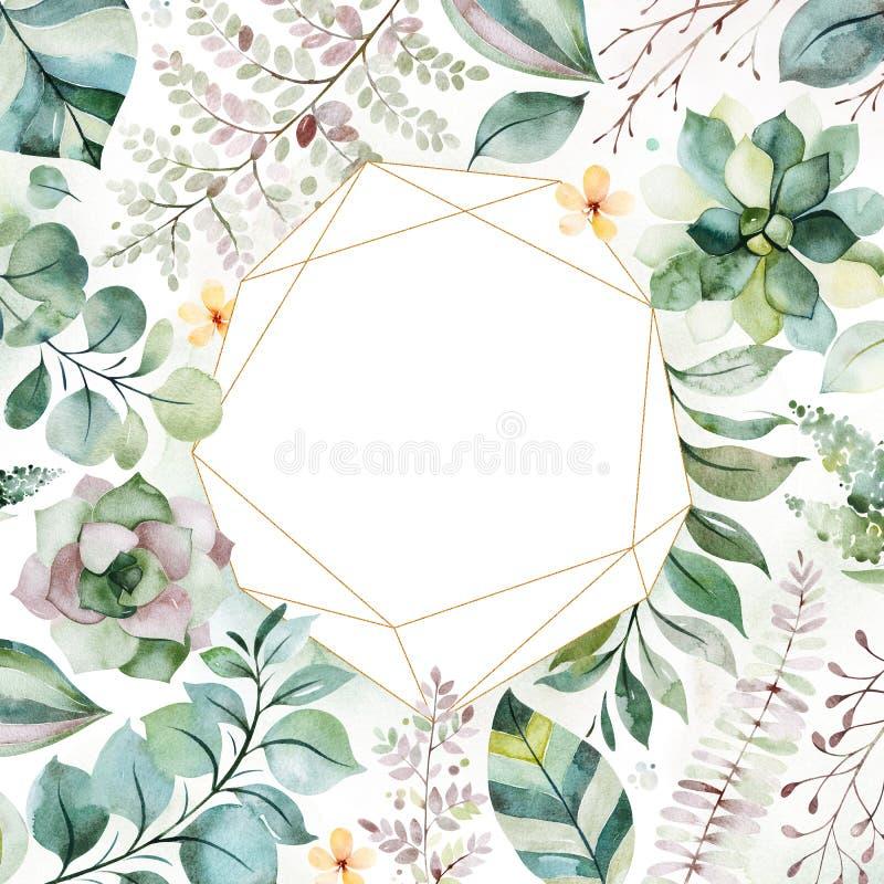 tarjeta de felicitación Pre-hecha con las plantas, las hojas de palma, las flores, las ramas y más suculentos libre illustration