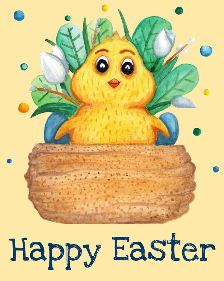 Tarjeta de felicitación preciosa de Pascua con los ejemplos de la acuarela Pollo de Pascua stock de ilustración