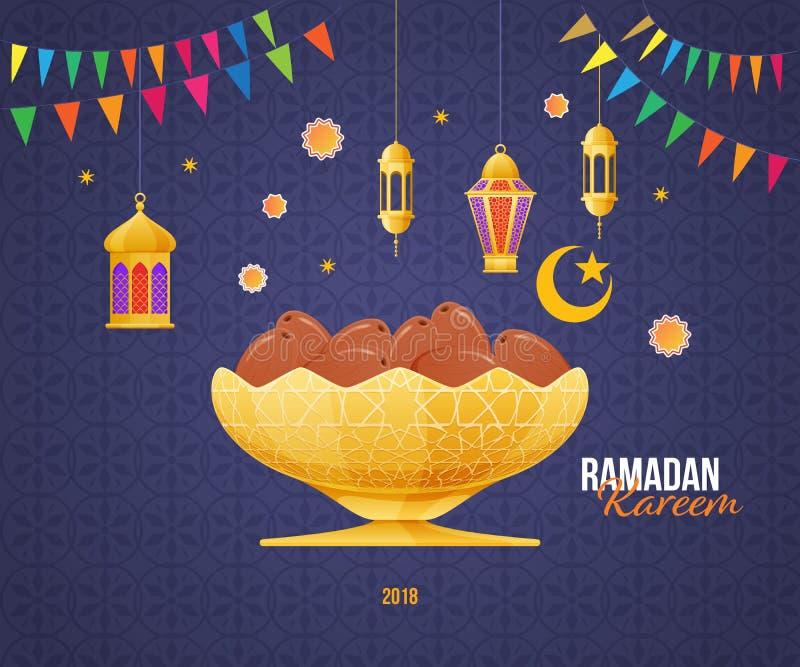 Tarjeta de felicitación de Ramadan Kareem con la fruta de la imagen en cuenco del oro stock de ilustración