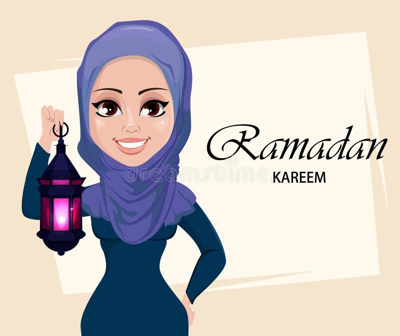 Tarjeta de felicitación de Ramadan Kareem con la mujer musulmán hermosa que sostiene la linterna árabe tradicional ilustración del vector