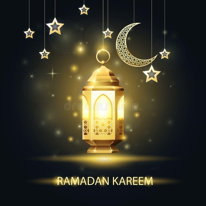 Tarjeta de felicitación de Ramadan Kareem - linterna con el modelo árabe ilustración del vector