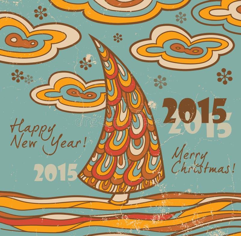 Tarjeta de felicitación retra 2015 con el árbol de navidad libre illustration