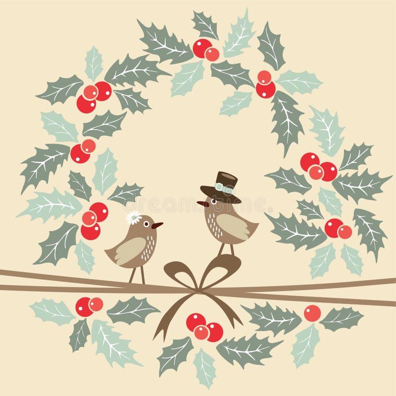 Tarjeta de felicitación retra de la Navidad con los pájaros, acebo stock de ilustración