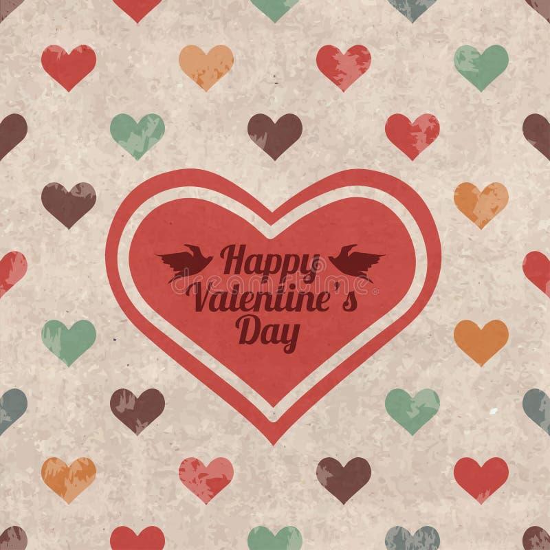 Tarjeta de felicitación retra del día de tarjeta del día de San Valentín stock de ilustración