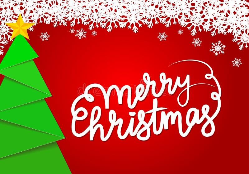 Tarjeta de felicitación roja con el árbol decorativo y el golde de la Navidad verde libre illustration