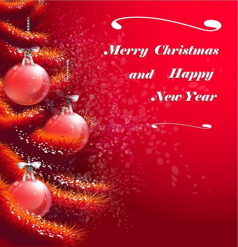 Tarjeta de felicitación roja de la Navidad libre illustration