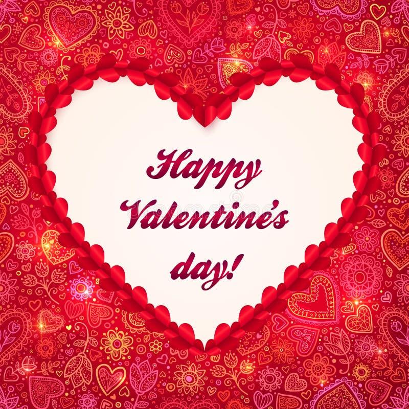 Tarjeta de felicitación roja del día de tarjetas del día de San Valentín del marco del corazón libre illustration