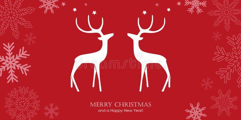 Tarjeta de felicitación roja de la Navidad con los renos y la frontera del copo de nieve ilustración del vector