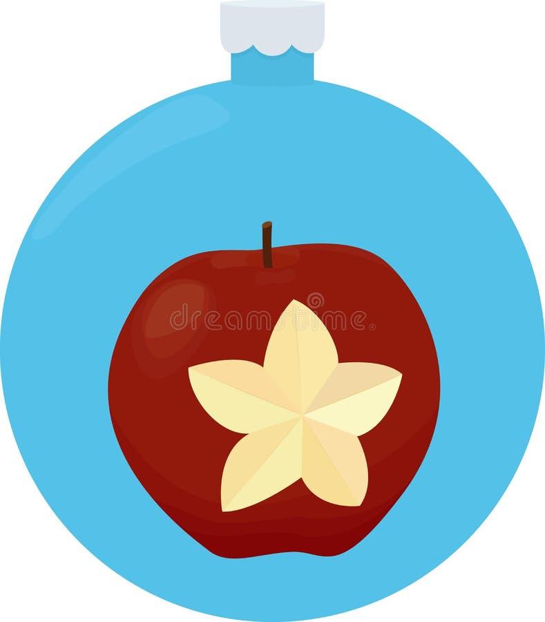 Tarjeta de felicitación roja de la Navidad de la manzana en árbol de navidad azul stock de ilustración