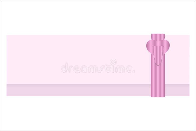 Tarjeta de felicitación rosada con un corchete para los diversos eventos stock de ilustración