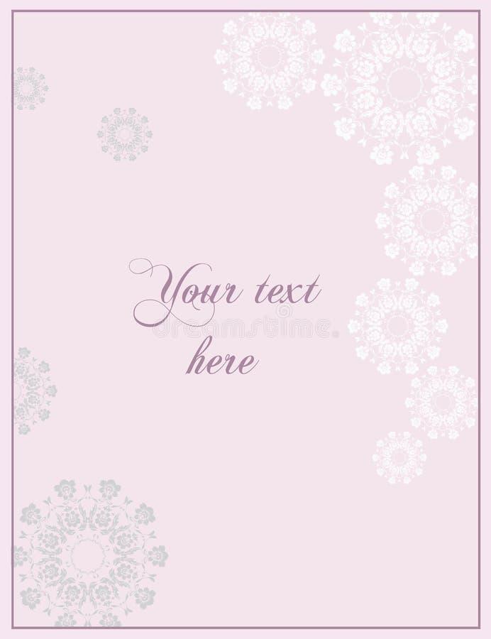 Tarjeta de felicitación rosada de la boda o de Anniversay en estilo barroco foto de archivo