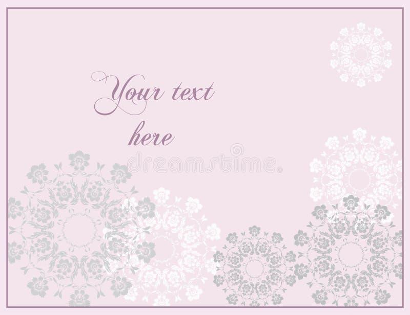 Tarjeta de felicitación rosada de la boda o del aniversario en estilo barroco foto de archivo libre de regalías