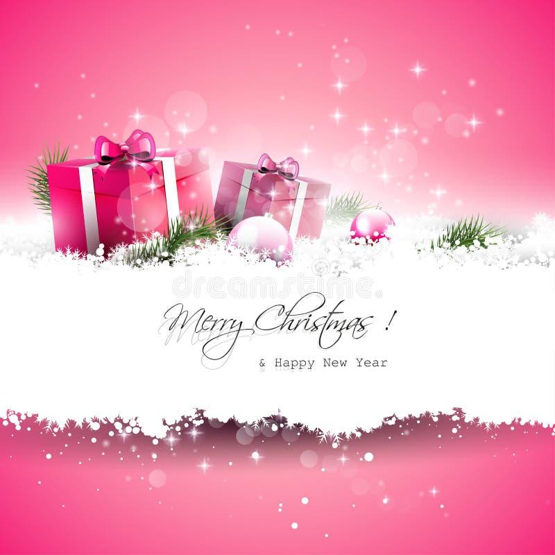 Tarjeta de felicitación rosada de la Navidad ilustración del vector