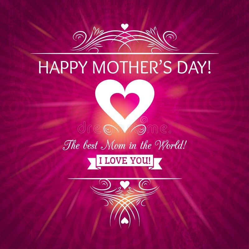 Tarjeta de felicitación rosada del día de madres con el fondo de rosas libre illustration