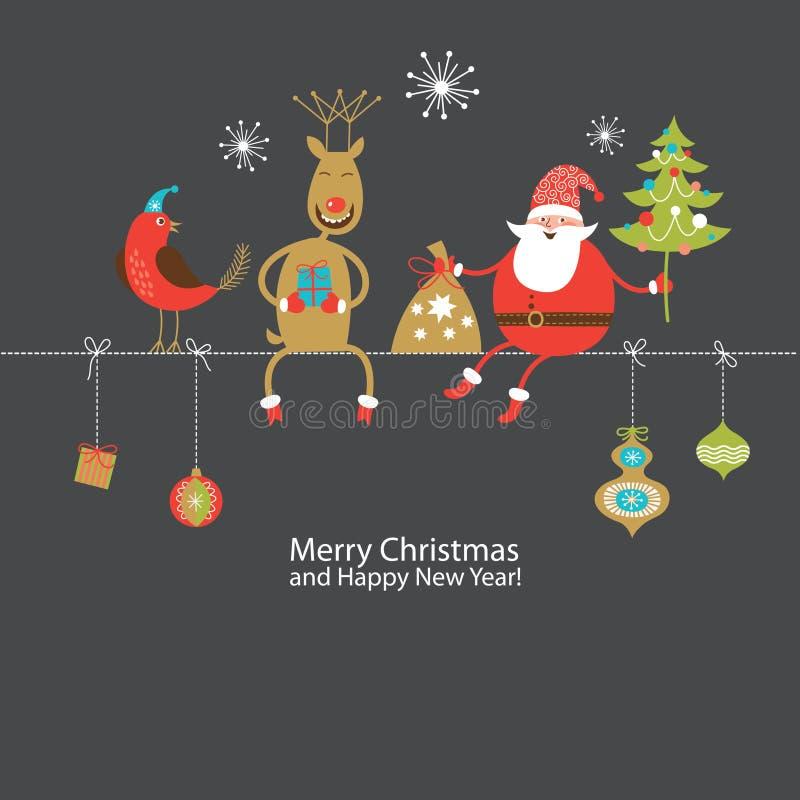 Tarjeta de felicitación, tarjeta de Navidad libre illustration
