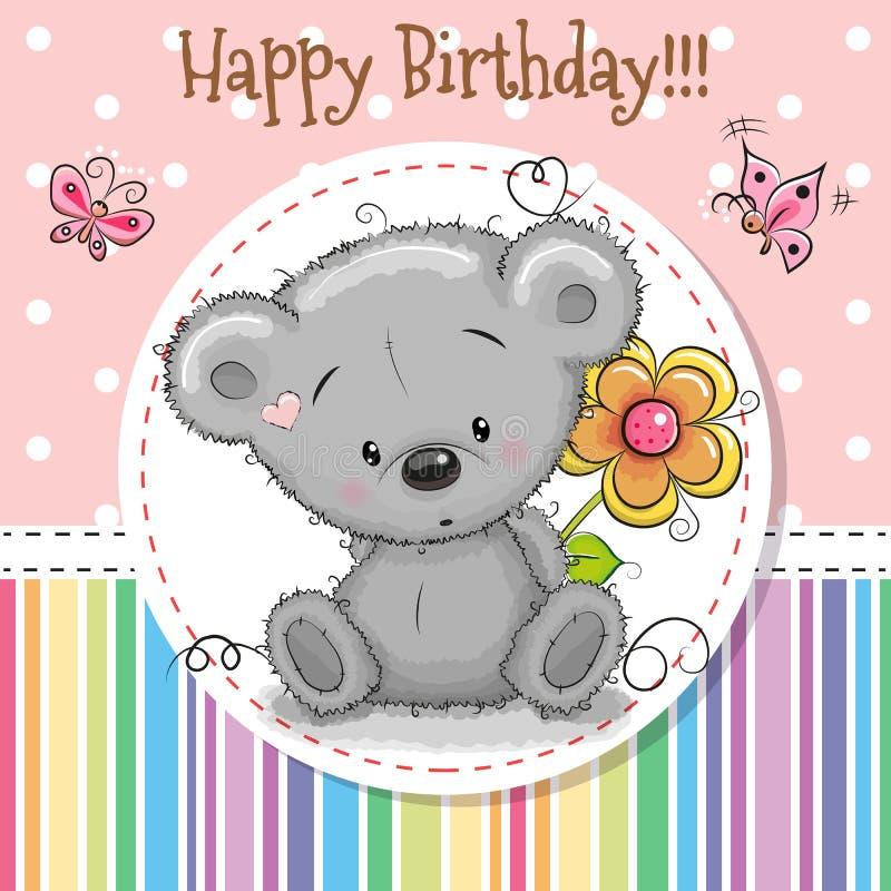 Tarjeta de felicitación Teddy Bear lindo stock de ilustración