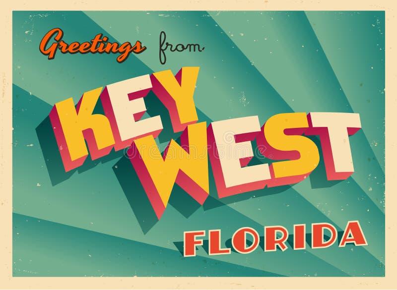 Tarjeta de felicitación turística del vintage de Key West, la Florida libre illustration