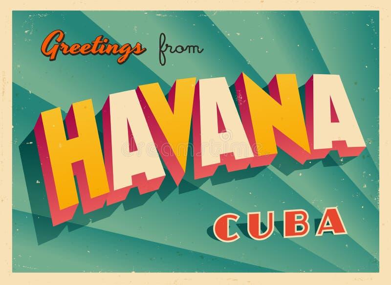 Tarjeta de felicitación turística del vintage de La Habana stock de ilustración