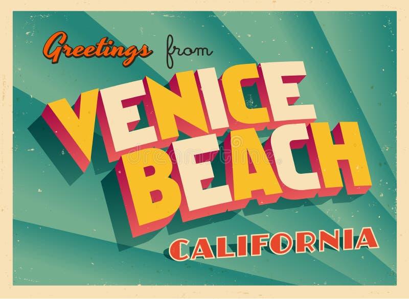 Tarjeta de felicitación turística del vintage de la playa de Venecia, California ilustración del vector