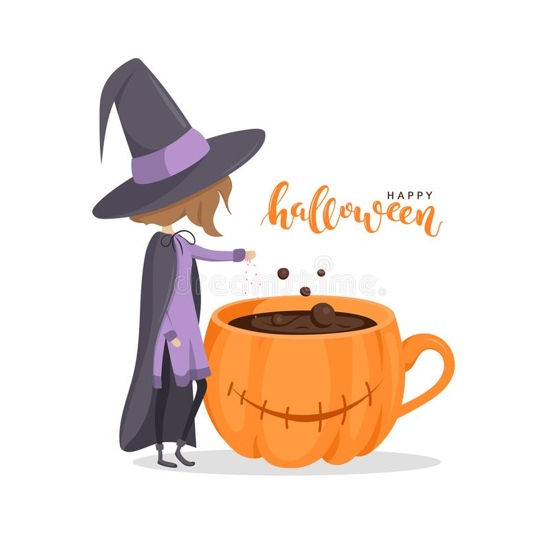 Tarjeta de felicitación Una bruja linda cerca de la taza de café libre illustration