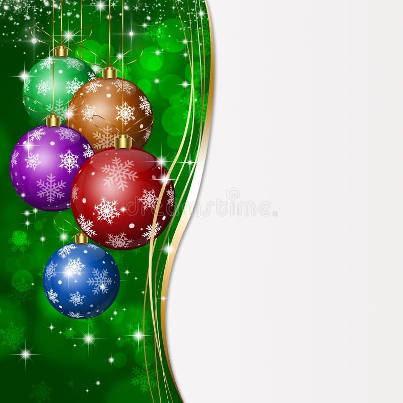 Tarjeta de felicitación verde de Navidad ilustración del vector