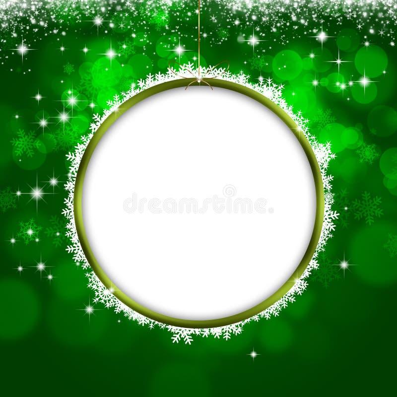 Tarjeta de felicitación verde de Navidad del día de fiesta ilustración del vector