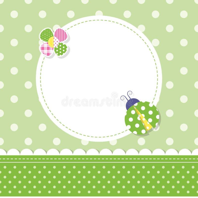 Tarjeta de felicitación verde del bebé de la mariquita ilustración del vector