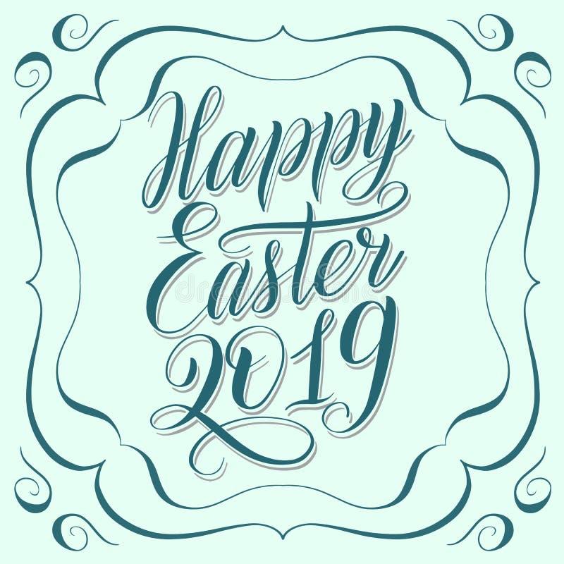 Tarjeta de felicitación verde del color de la menta de Pascua 2019 felices stock de ilustración