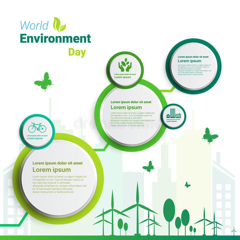 Tarjeta de felicitación verde del día de fiesta de la protección de la ecología del día del ambiente mundial de la ciudad de la t stock de ilustración