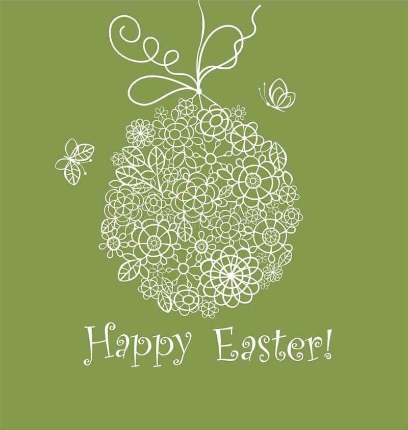 Tarjeta de felicitación verde verde oliva decorativa hermosa de Pascua con el huevo de encaje colgante del ganchillo stock de ilustración