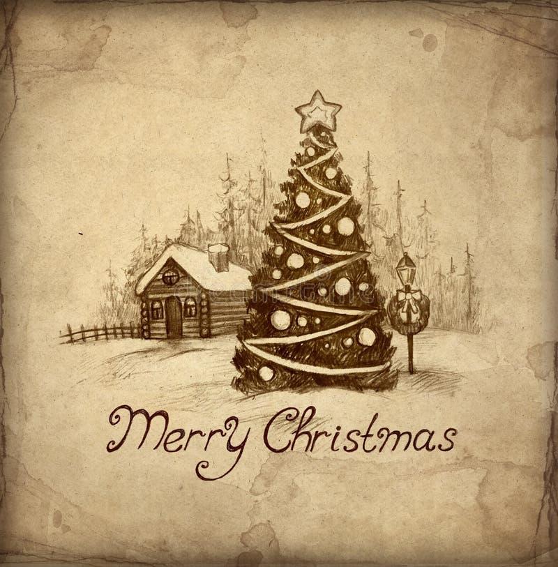 Tarjeta de felicitación vieja de la Navidad stock de ilustración