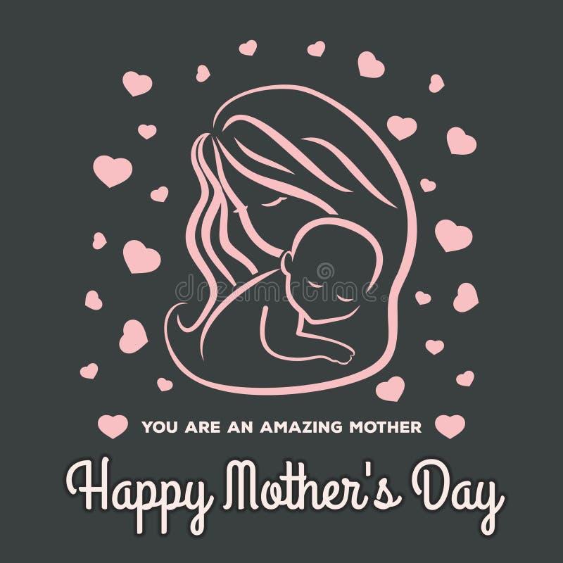 Tarjeta de felicitaci?n del d?a de madre con el s?mbolo de la mam? y del beb? Ilustraci?n del vector ilustración del vector