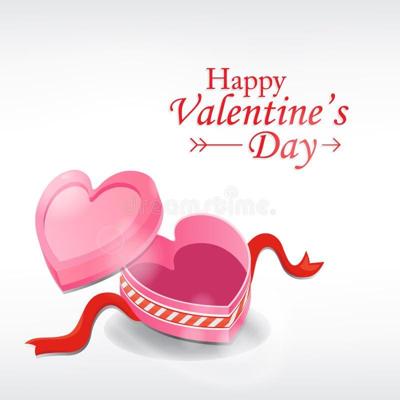 Tarjeta de felicitaci?n del d?a del `s de la tarjeta del d?a de San Valent?n Caja del corazón en el fondo blanco ilustración del vector