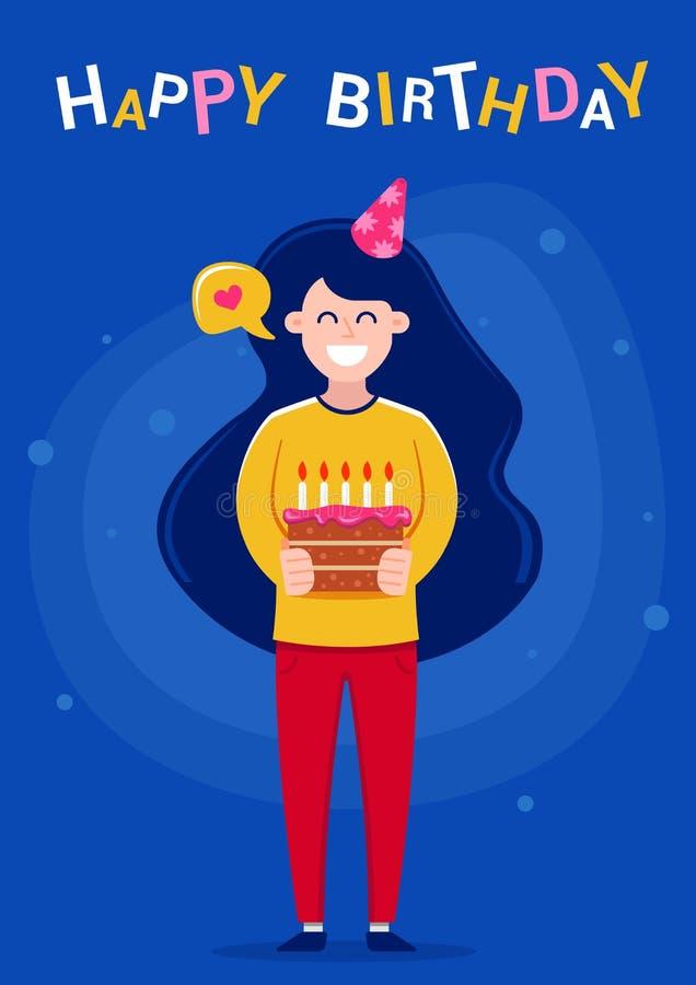 Tarjeta de felicitaci?n del feliz cumplea?os Muchacha que sostiene una torta con las velas stock de ilustración