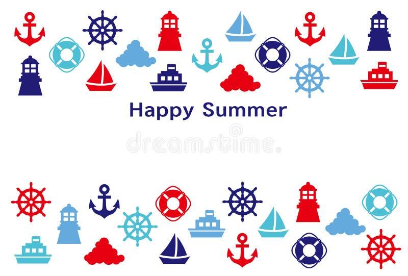 Tarjeta de felicitaci?n del verano Iconos marinos ilustración del vector