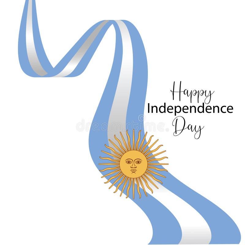 Tarjeta de felicitaci?n feliz del D?a de la Independencia de la Argentina, bandera, ejemplo del vector - vector ilustración del vector
