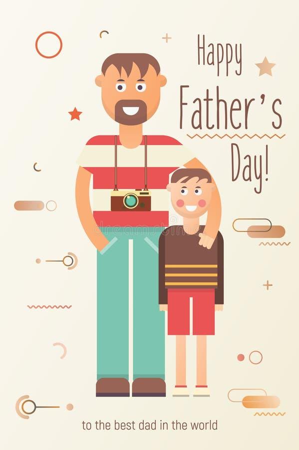 Tarjeta de felicitaci?n feliz del d?a del ` s del padre libre illustration