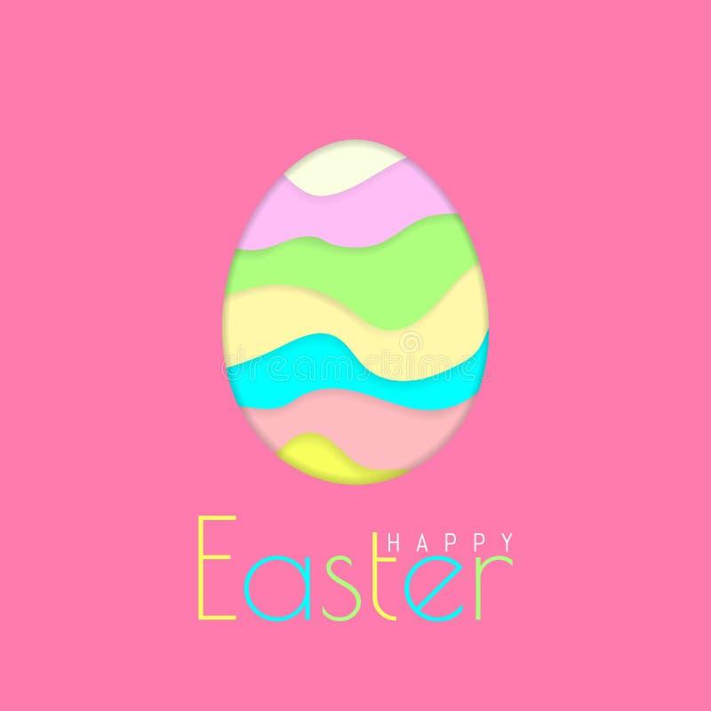 Tarjeta de felicitaci?n feliz de Pascua con el huevo de Pascua del papel del color en fondo rosado Ilustraci?n del vector ilustración del vector