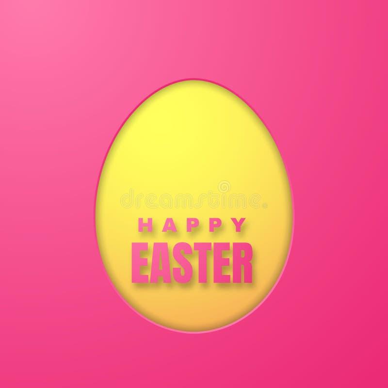 Tarjeta de felicitaci?n feliz de Pascua con el huevo de Pascua del papel del color en fondo rosado Ilustraci?n del vector stock de ilustración