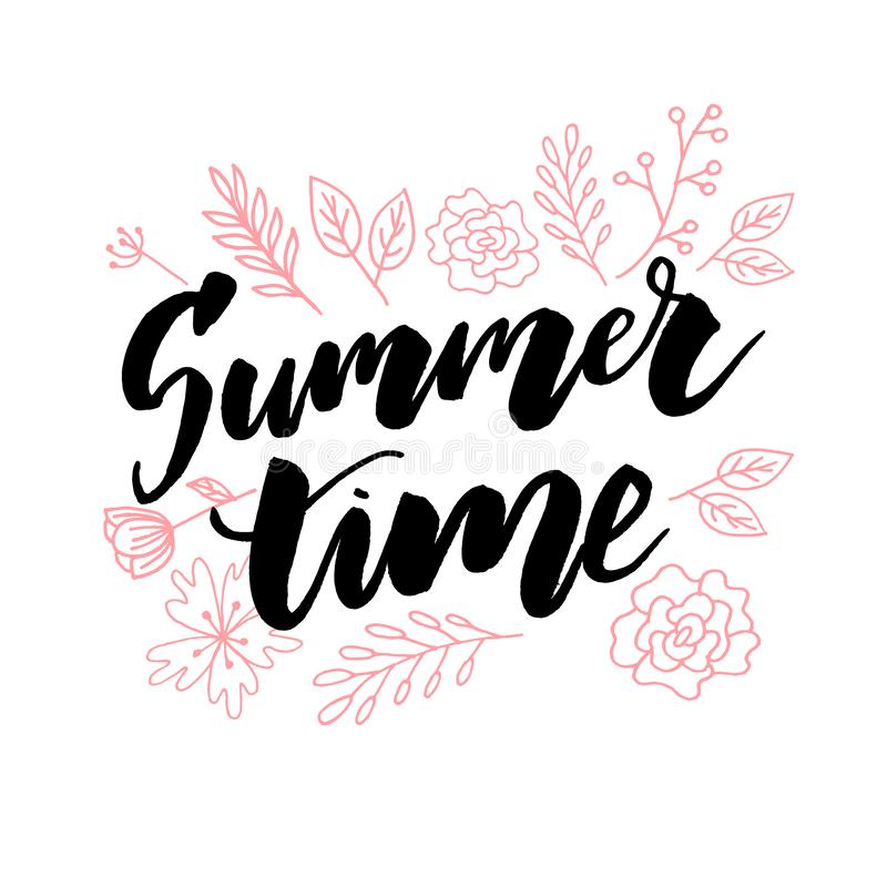 Tarjeta de felicitaci?n floral del vintage del verano con las flores florecientes de la hortensia y del jard?n, gracias ejemplo n ilustración del vector