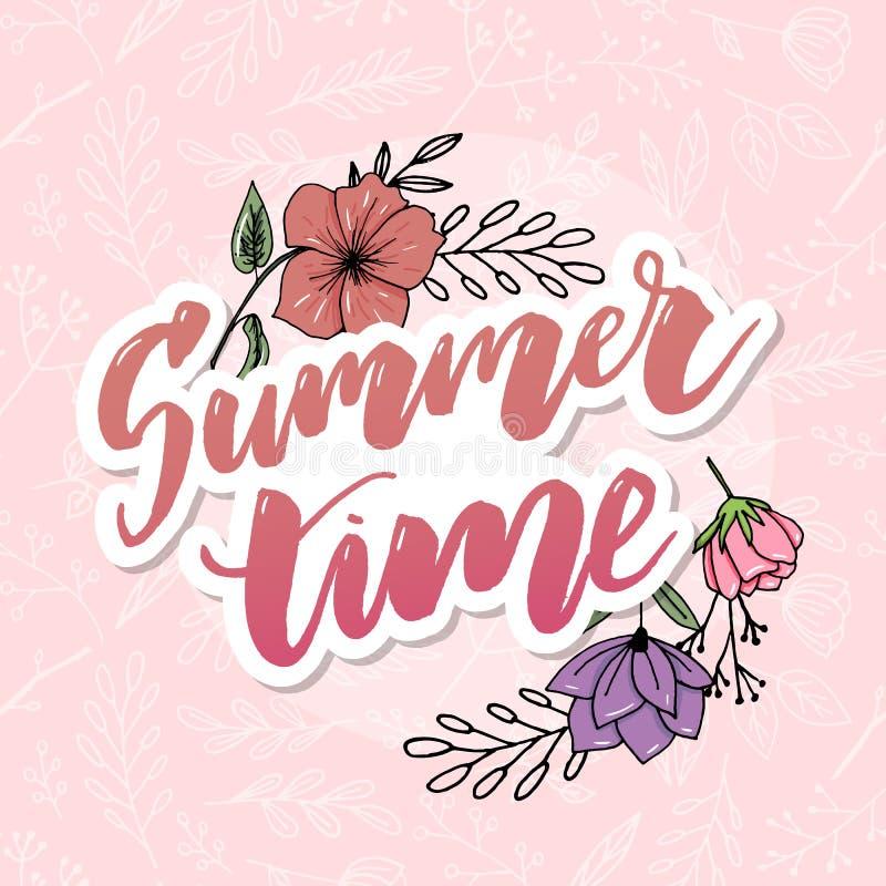 Tarjeta de felicitaci?n floral del vintage del verano con las flores florecientes de la hortensia y del jard?n, gracias ejemplo n stock de ilustración