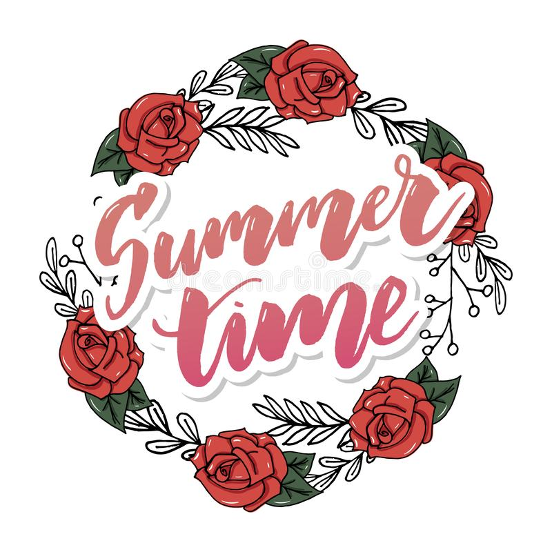 Tarjeta de felicitaci?n floral del vintage del verano con las flores florecientes de la hortensia y del jard?n, gracias ejemplo n libre illustration