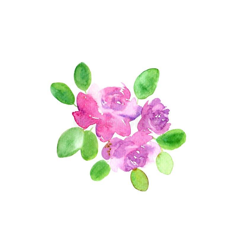 Tarjeta de felicitaci?n floral Dise?o floral de la invitaci?n de la boda La acuarela florece la decoraci?n Rosas rosadas de dibuj libre illustration